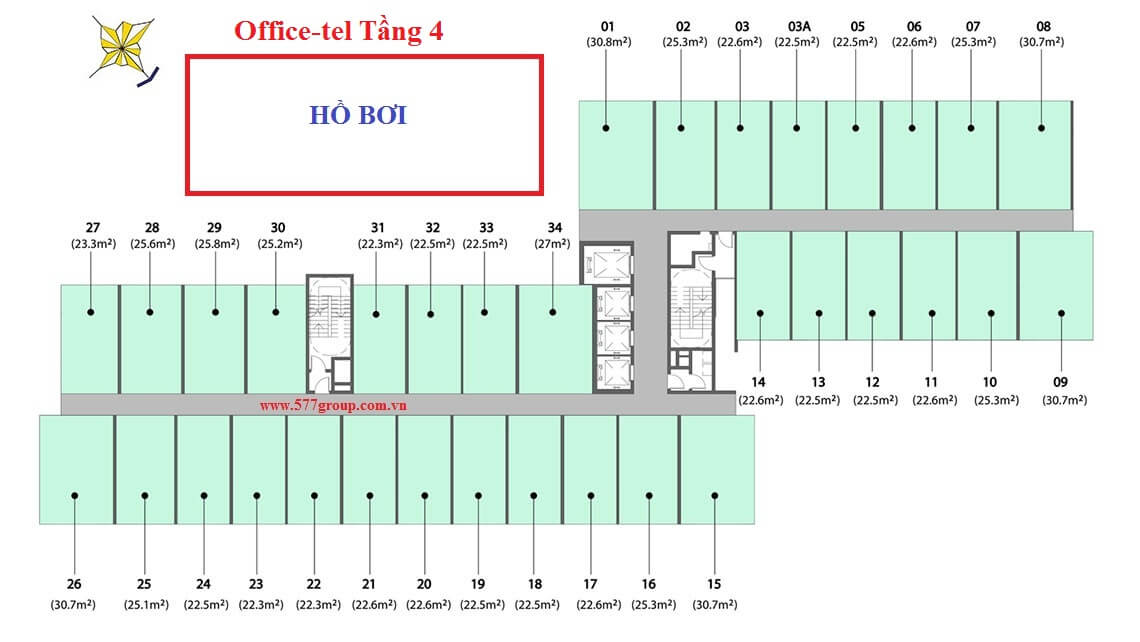 Mặt bằng căn hộ Office-tel The PegaSuite 2 Tầng 4