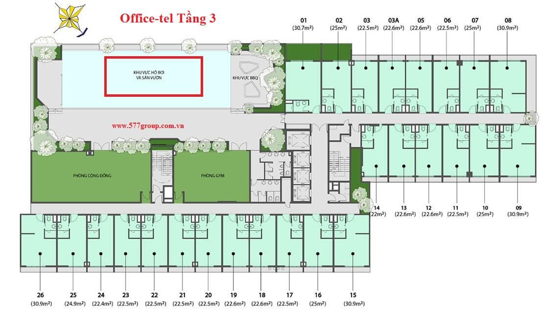 Mặt bằng căn hộ Office-tel The PegaSuite 2